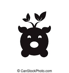 Flat icon in black and white eco pig - Flat icon in black...