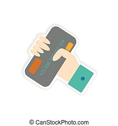 stylish sticker on paper bank card in hand