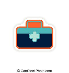 paper sticker on white background medical suitcase