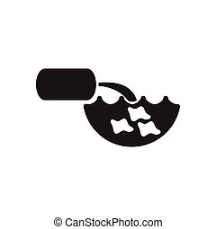 Flat icon in black and white water pollution - Flat icon in...