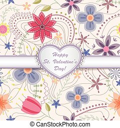 Happy St valentines day card with heart on ribbon - Vector...