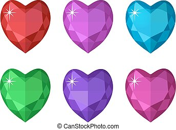 Jewelry heart set. Gemstones hearts shaped collection. Colorful diamonds. Vector illustration, clip art