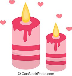 Romantic candles with hearts icon, flat design. Isolated on white background. Vector illustration, clip art.