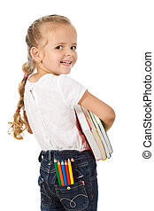 Little excited girl preparing to go back to school - Little...