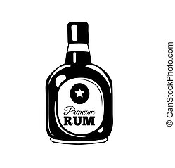 Bottle of rum sketch. Hand-drawn cartoon pirate icon. Doodle drawing. Vector illustration isolated on white