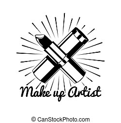 Lipstick make up artist badge. Vector Illustration. Isolated...