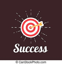 Arrow Hitting A Target. Succes motivation poster. Vector...