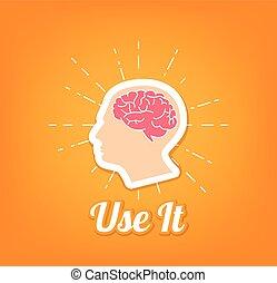 Human brain mind. Use it. Vector