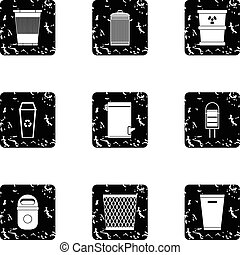 Rubbish bin icons set, grunge style - Rubbish bin icons set....