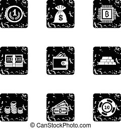 Bank icons set, grunge style - Bank icons set. Grunge...