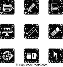 Photography icons set, grunge style - Photography icons set....