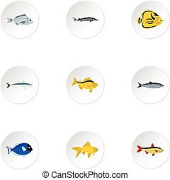 Ocean fish icons set, flat style - Ocean fish icons set....
