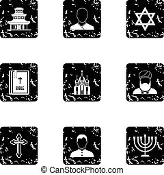 Beliefs icons set, grunge style - Beliefs icons set. Grunge...