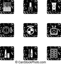 Cosmetics icons set, grunge style