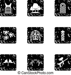 Shooting paintball icons set, grunge style