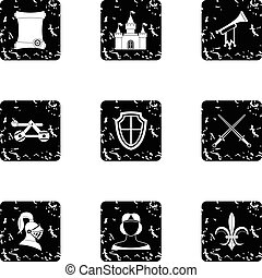 Military middle ages icons set, grunge style - Military...