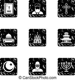 Spirituality icons set, grunge style - Spirituality icons...