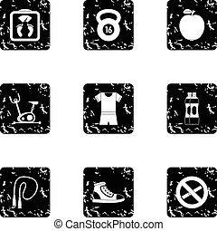 Classes in gym icons set, grunge style - Classes in gym...