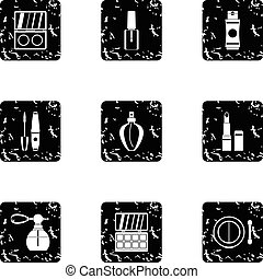 Cosmetic products icons set, grunge style