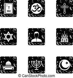 Religion icons set, grunge style - Religion icons set....