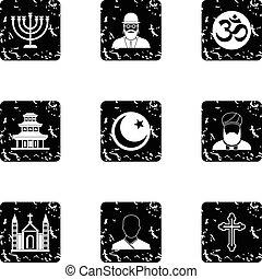 Faith icons set, grunge style - Faith icons set. Grunge...