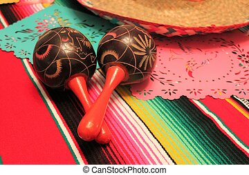 Mexico poncho sombrero maracas background fiesta cinco de mayo decoration bunting