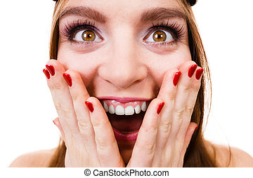 Crazy close up of woman face - Fun, folly concept. Woman...