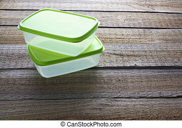 Lunch Boxes on Wooden Background