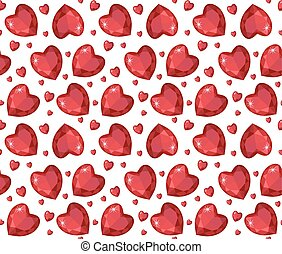 Jewelry ruby red heart seamless pattern. Brilliant, gems...