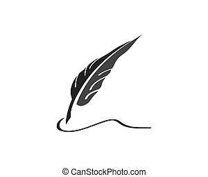 Feather pen Logo template Vector illustration