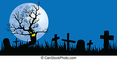halloween night illustrations, vector format, evil tree in...