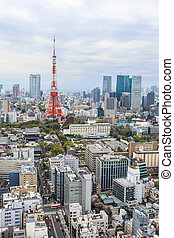 Tokyo Tower cityscape Japan. - Aerial view Tokyo Tower...