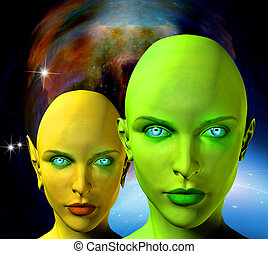 Aliens faces - Two female aliens faces with deep space on a...