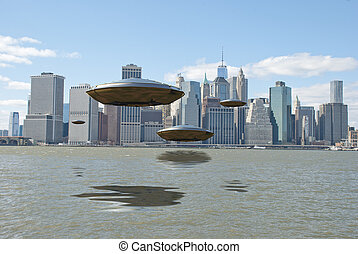 Visitors - Flying saucers over New York harbour.