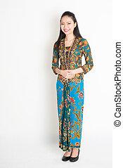 batik, sudeste, mulher, Vestido, Asiático