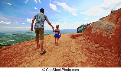 Father Little Blond Daughter Walk on Sand Dune Crest over...