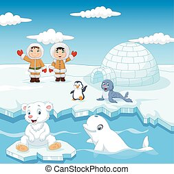 Little Eskimo kids with arctic animals and igloo house -...