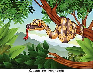 Cartoon Royal Python snake creeping on a branch - Vector...