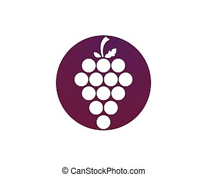 Grape logo template - Bunch of wine grapes with leaf icon...