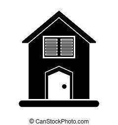 silhouette house blinds windows vector illustration eps 10