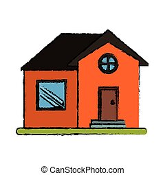 drawing orange house home property round window vector...