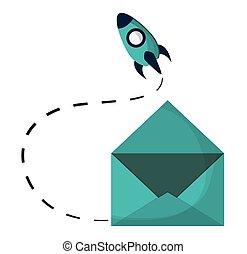 email envelope open rocket startup vector illustration eps...