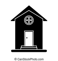 silhouette house home property round window vector...