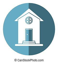 house home property round window shadow vector illustration...