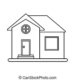 house home property round window outline vector illustration...