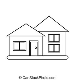 house suburban architecture green grass outline vector...