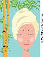spa woman towel care skin bamboo blue background vector...