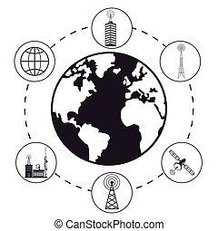 globe antenna provider communication vector illustration eps...