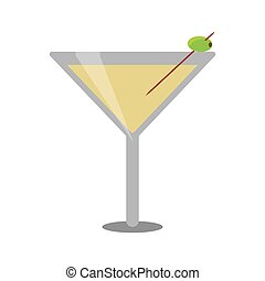 glass cocktail martini with olive