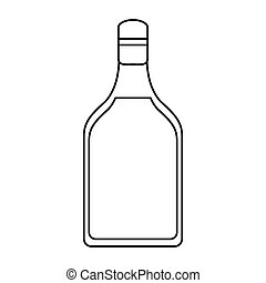 tequila bottle alcoholic beverage outline vector...